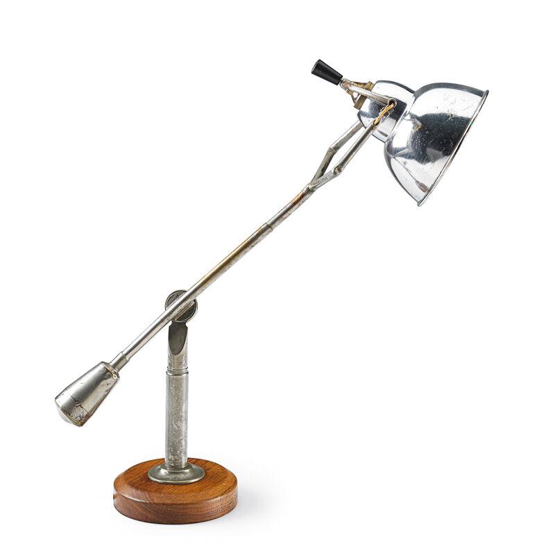 Edouard-Wilfred Buquet, 'Adjustable Desk Lamp, France', 1920s, Design/Decorative Art, Aluminum, Nickel-plated Brass, Walnut, Rago/Wright