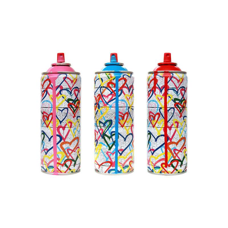 Mr. Brainwash, 'Cyan Graffiti Hearts', 2017, Design/Decorative Art, Spray Can, The Art Dose