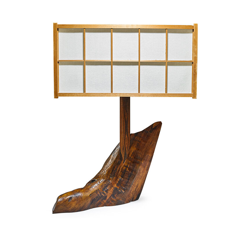 George Nakashima, 'Special Table Lamp, New Hope, PA', 1974, Design/Decorative Art, Walnut, Rosewood, Cedar, Parchment, Two Sockets, Rago/Wright