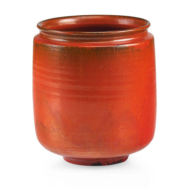 Gertrud Natzler, 'Straight-walled vessel, vivid orange glaze, Los Angeles, CA', 1960, Design/Decorative Art, Glazed earthenware, Rago/Wright/LAMA