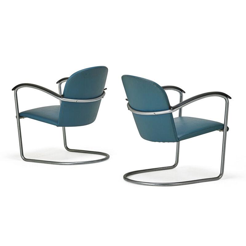Willem Hendrik Gispen, 'Pair of Armchairs, The Netherlands', ca. 1945-50, Design/Decorative Art, Tubular Steel, Bakelite, Upholstery, Rago/Wright/LAMA