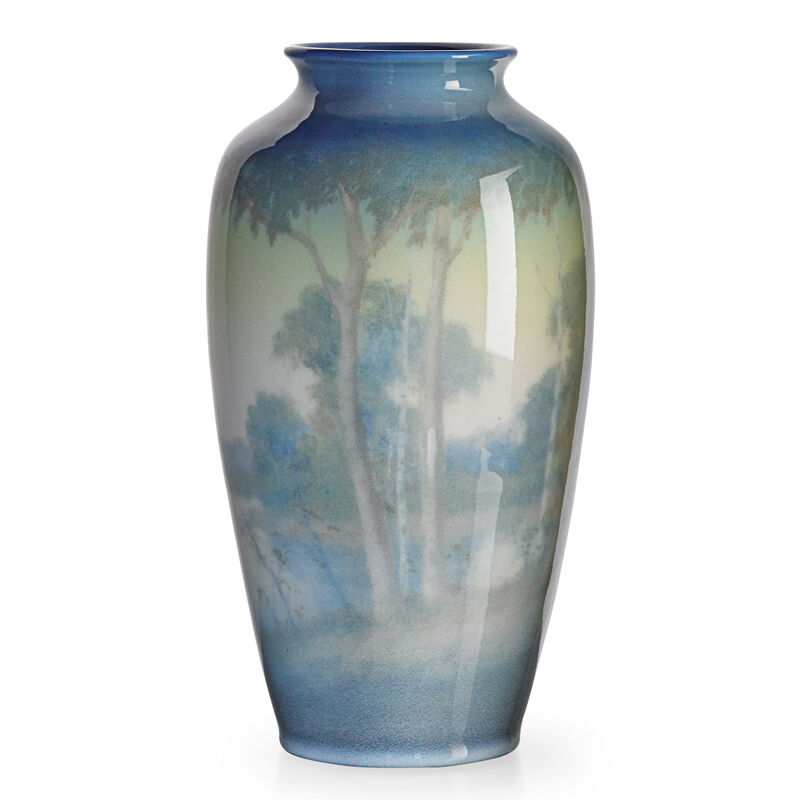 Edward T. Hurley, 'Rookwood, Jewel Porcelain Scenic Vase With Lake And Trees (Uncrazed), Cincinnati, OH', 1943, Design/Decorative Art, Rago/Wright