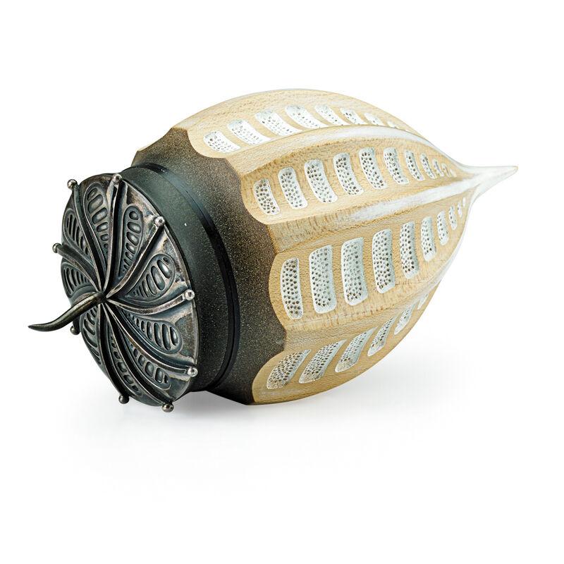 "Louise Hibbert, 'Lidded Vessel, ""Corythodinium"", England', 2002, Design/Decorative Art, Sycamore, silver, ebony, Rago/Wright"