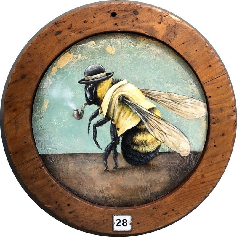 Tyson Grumm, 'Attention Honeybees, This is Not a Yellow Jacket!', 2019, Painting, Acrylic on wood, McVarish Gallery