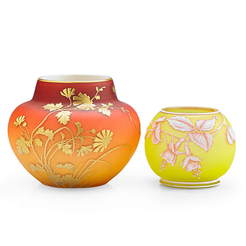 Thomas Webb & Sons, 'Peach Bloom Vase With Daisies (Possibly Thomas Webb) And Cabinet Vase With Fuchsia, England', 19th C., Design/Decorative Art, Acid-Etched, Enameled And Gilt Cameo Glass, Rago/Wright