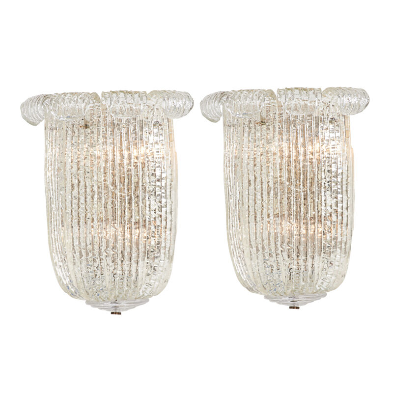 Barovier & Toso, 'Pair Of Large Sconces, Murano, Italy', 1940s, Design/Decorative Art, Chromed And Enameled Steel, Textured Glass And Brass, Six Sockets Each, Rago/Wright