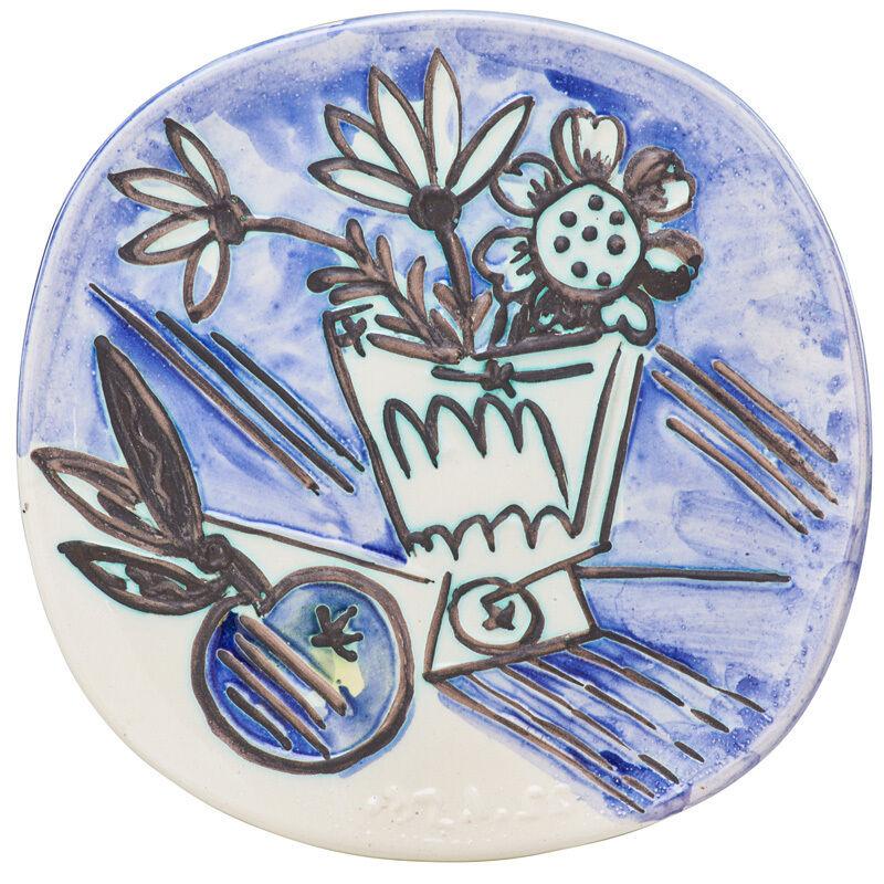 "Pablo Picasso, 'Plate, ""Bunch with Apple (Bouquet avec Pomme),"" edition of 400, France', des. 1956, Design/Decorative Art, Glazed earthenware, Rago/Wright"