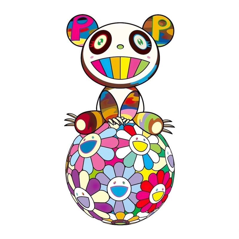 Takashi Murakami, 'Atop a Ball of Flowers, a Panda Cub Sits Properly', 2020, Print, Silkscreen, Pinto Gallery
