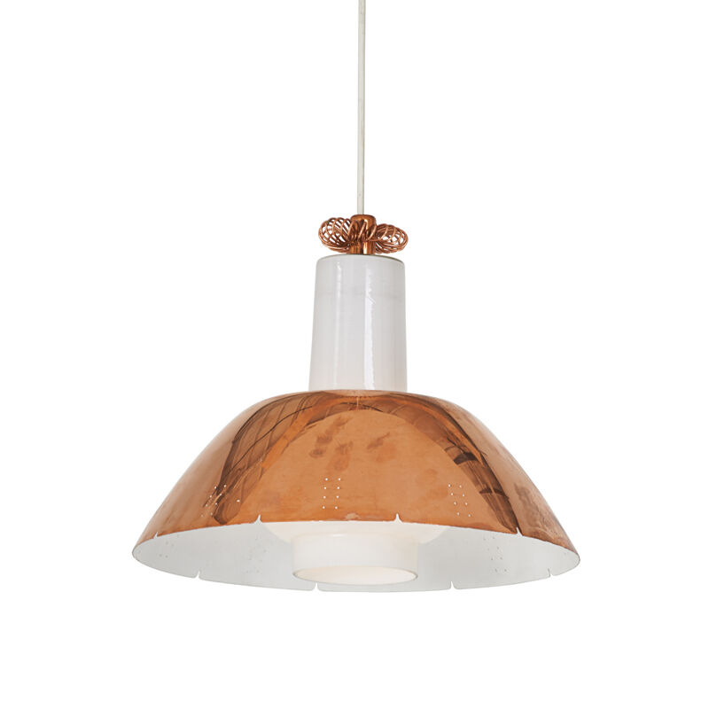 Paavo Tynell, 'Pendant Fixture, Finland', 1950s, Design/Decorative Art, Copper, Frosted Glass, Single Socket, Rago/Wright