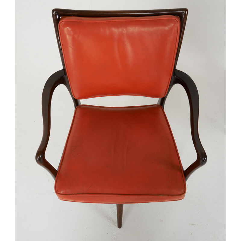 Vladimir Kagan, 'Four Chairs, Two Arm, Two Side, New York', 1950s, Design/Decorative Art, Sculpted Walnut, Leather, Rago/Wright