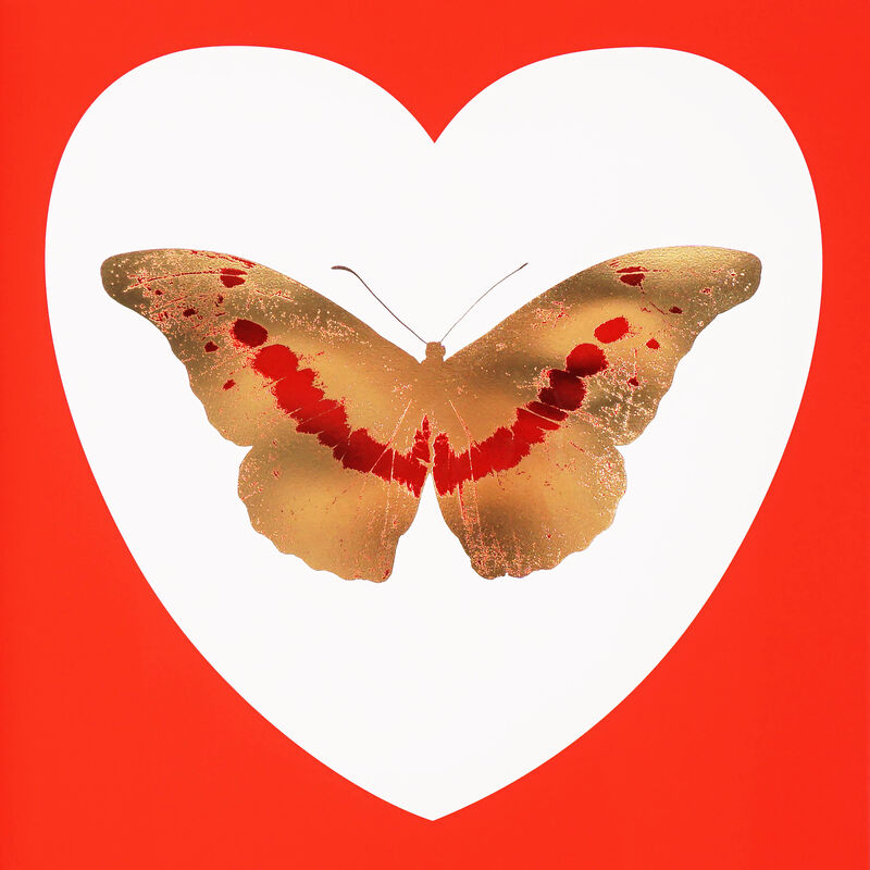 Damien Hirst, 'I Love You Red/Gold Butterfly ', 2015, Print, Silkscreen, Gold Leaf, Foil Block, Arton Contemporary