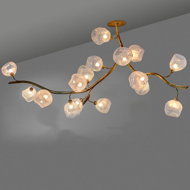 """Jeff Zimmerman, 'Unique """"Vine"""" chandelier, USA', 2012, Design/Decorative Art, Brass, hand-blown glass, sixteen sockets, Rago/Wright"""