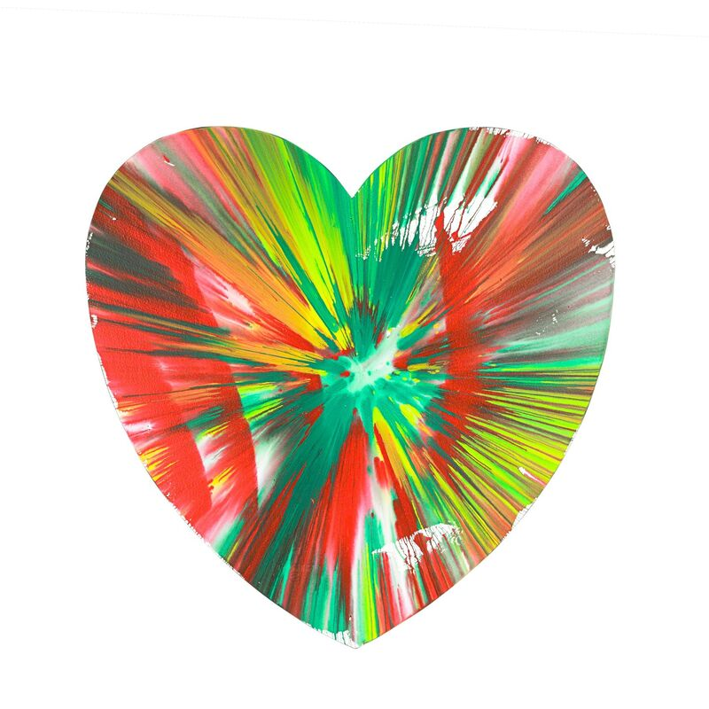 Damien Hirst, 'Heart Spin Painting (Created at Damien Hirst Spin Workshop)', 2009, Drawing, Collage or other Work on Paper, Acrylic on paper, Rago/Wright