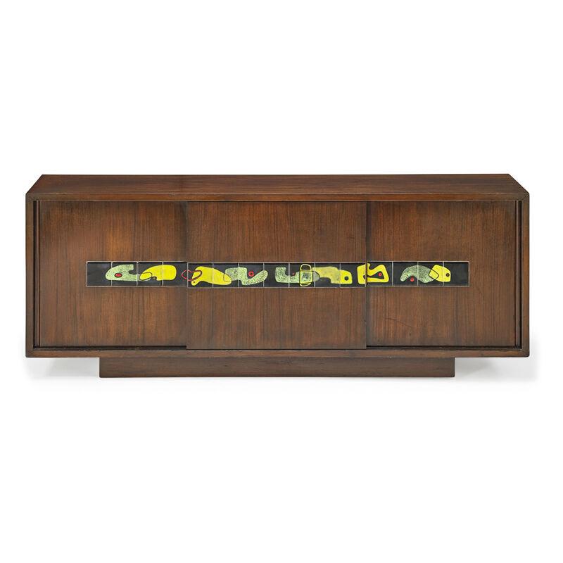 Vladimir Kagan, 'Rare Early Cabinet, New York', ca. 1950, Design/Decorative Art, Stained mahogany, glazed earthenware, Rago/Wright