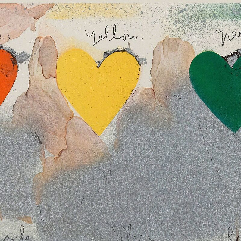 Jim Dine, '8 hearts / look', 1970, Print, Off-set Lithograph with metallic paper collage overlay, Caviar20