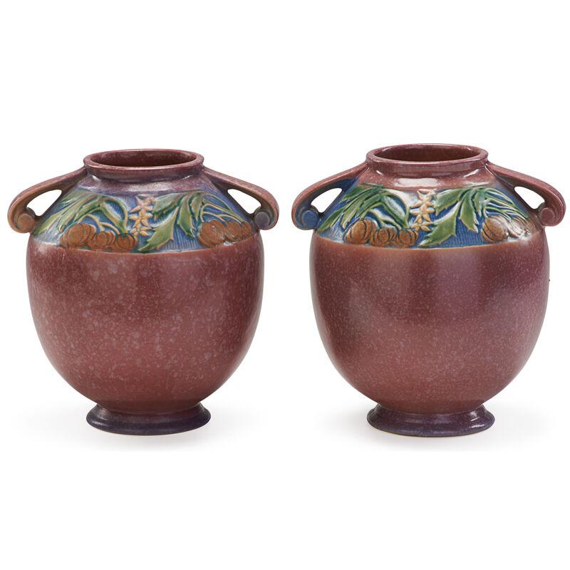 "Roseville Pottery, 'Two 8"" Pink Baneda Vases, Zanesville, OH', 1933, Design/Decorative Art, Rago/Wright/LAMA"