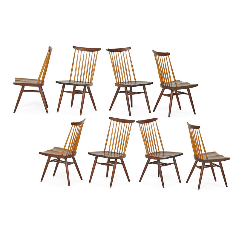 George Nakashima, 'Eight New Chairs, New Hope, PA', 1962/64/76, Design/Decorative Art, Walnut, Hickory, Rago/Wright