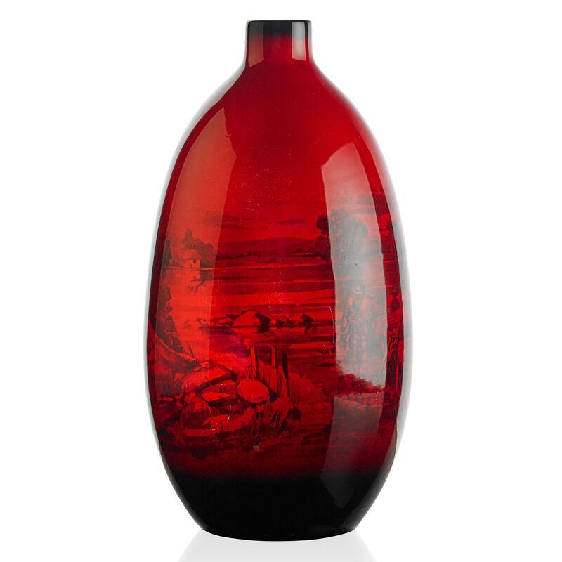 Royal Doulton, 'Large Flambé Vase With River Fishing Scene, England', ca. 1935, Design/Decorative Art, Rago/Wright