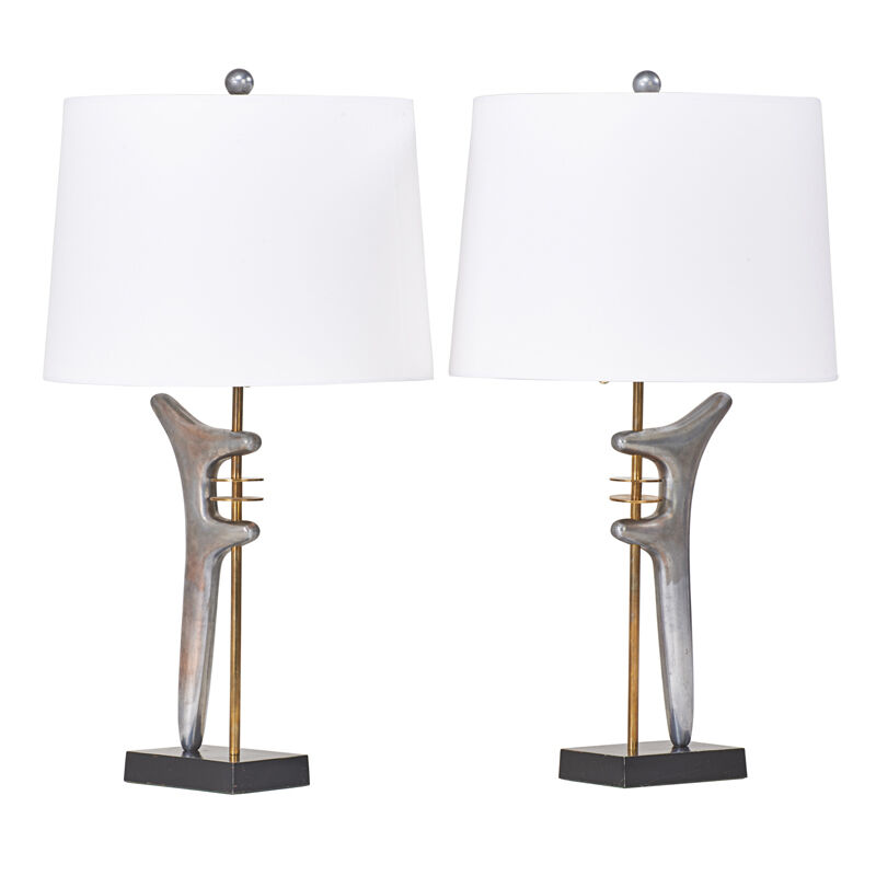 Style of Isamu Noguchi, 'Table Lamp, USA', 1950s, Design/Decorative Art, Enameled and polished metal, brass, linen shade, double sockets, Rago/Wright
