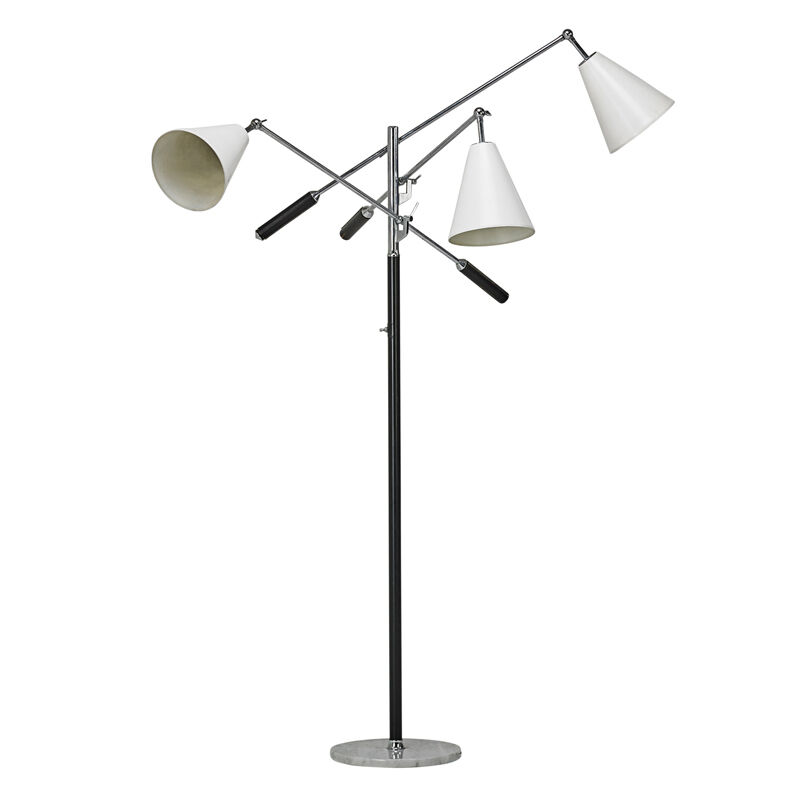 Angelo Lelii, 'Triennale Floor Lamp, Monza, Italy', 1970s, Design/Decorative Art, Nickeled Brass, Enameled Steel And Aluminum, Leather, Marble, Rago/Wright