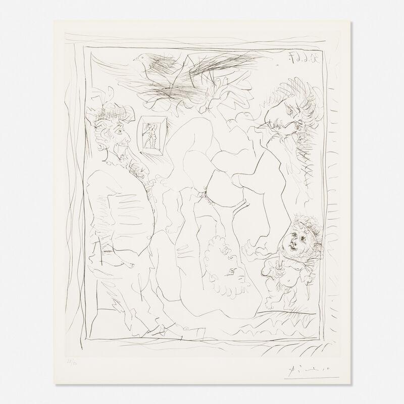 Pablo Picasso, 'Vieil Homme Devant une Toile Representant des Exploits Amoureux', 1967, Print, Etching, Rago/Wright