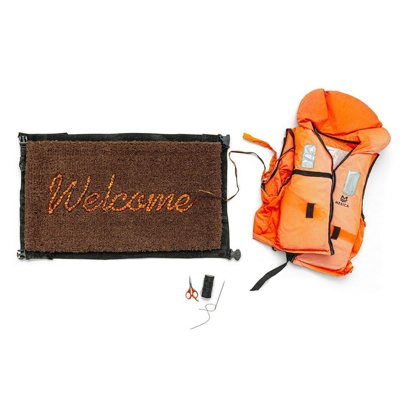 Banksy, 'Welcome Mat', 2020, Design/Decorative Art, Hand-stitched fabric from life vests abandoned on the Mediterranean beaches, Reem Gallery