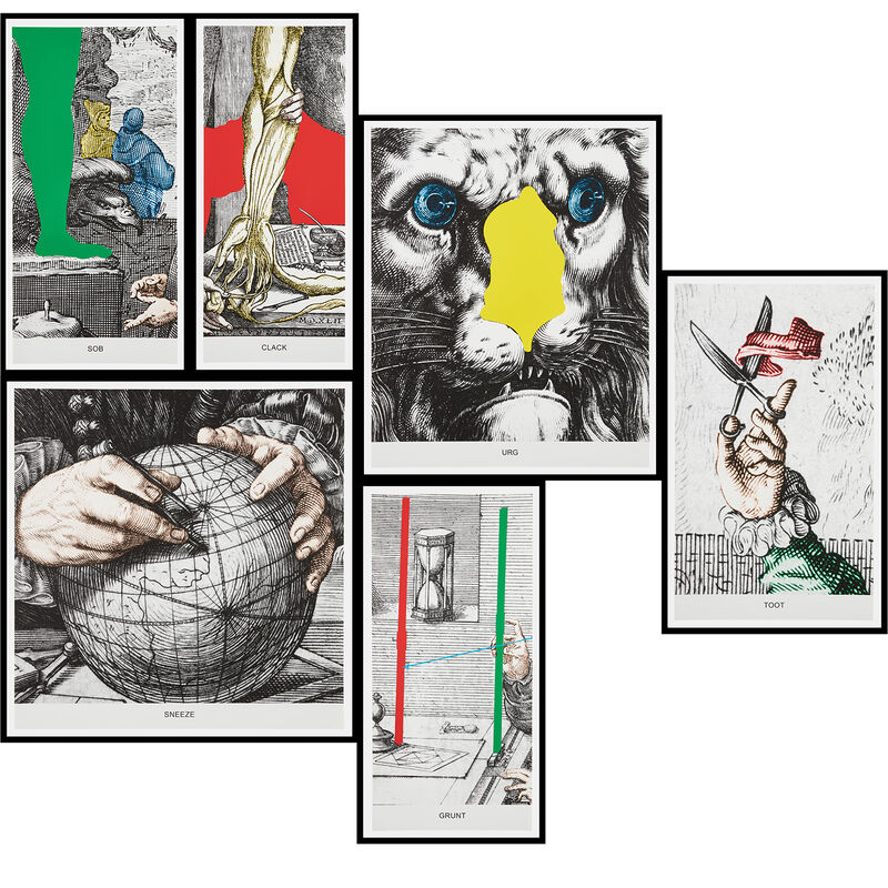 John Baldessari, 'Engravings with Sounds: Sob, Grunt, Clack, Sneeze, Urg, Toot', 2015, Print, The complete set of six archival inkjet prints, on wove papers, the full sheets., Phillips