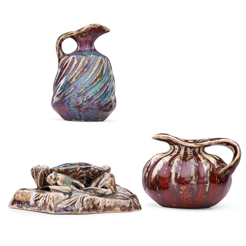 Pierre Adrien Dalpayrat, 'Crab Paperweight And Two Small Organic Pitchers, France', ca. 1900, Design/Decorative Art, Glazed Porcelain And Stoneware, Rago/Wright/LAMA