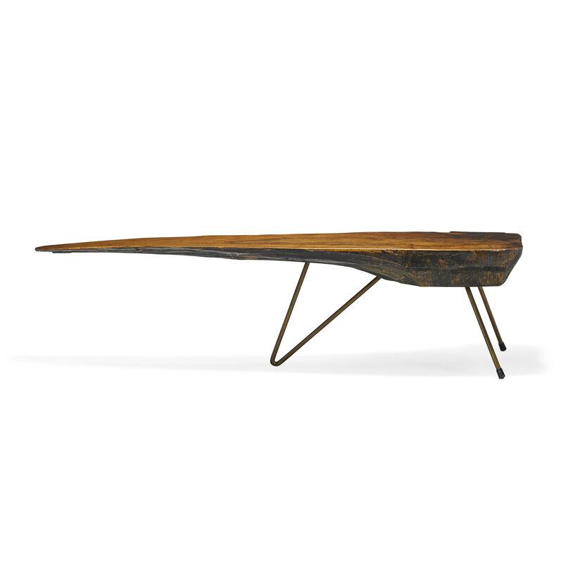 Carl Auböck, 'Rare coffee table with bent-leg construction, Austria', Design/Decorative Art, Walnut, brass, rubber, Rago/Wright/LAMA