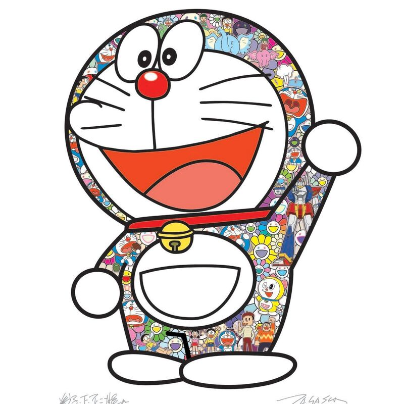 Takashi Murakami, 'Doraemon Ei!', 2020, Print, Offset print, with silver and high gloss varnishing, Pinto Gallery