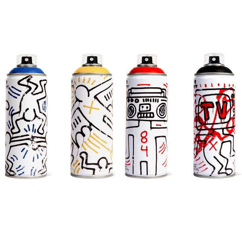 Keith Haring, ' Limited edition Keith Haring spray paint can set of 4', 2018, Ephemera or Merchandise, Limited edition Keith Haring spray paint can set, Lot 180