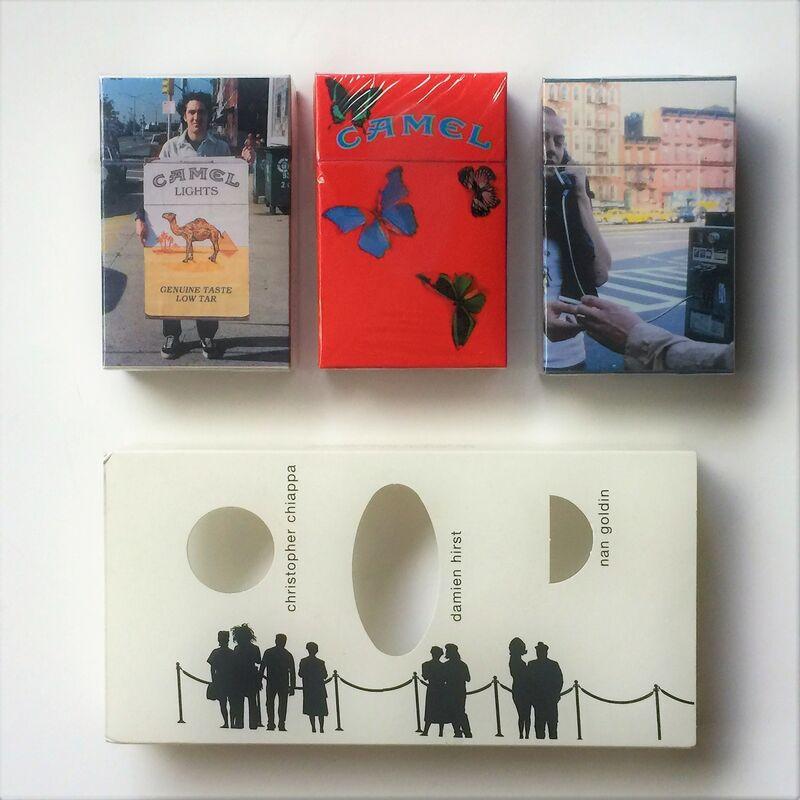 "Damien Hirst, '""Work in Progress"", 1999, Set of 3 Camel Lights (cigarette packs), Limited-Edition Artist's Packs, Damien Hirst, Nan Goldin, and Christopher Chiappa, 1999, R.J. Reynolds Tobacco', 1999, Sculpture, Mixed Media, VINCE fine arts/ephemera"