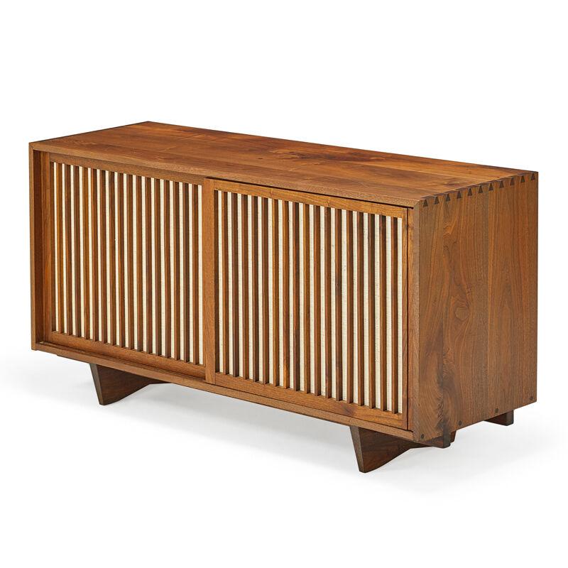 George Nakashima, 'Sliding Door Cabinet, New Hope, PA', 1969, Design/Decorative Art, Walnut, Pandanus Cloth, Rago/Wright
