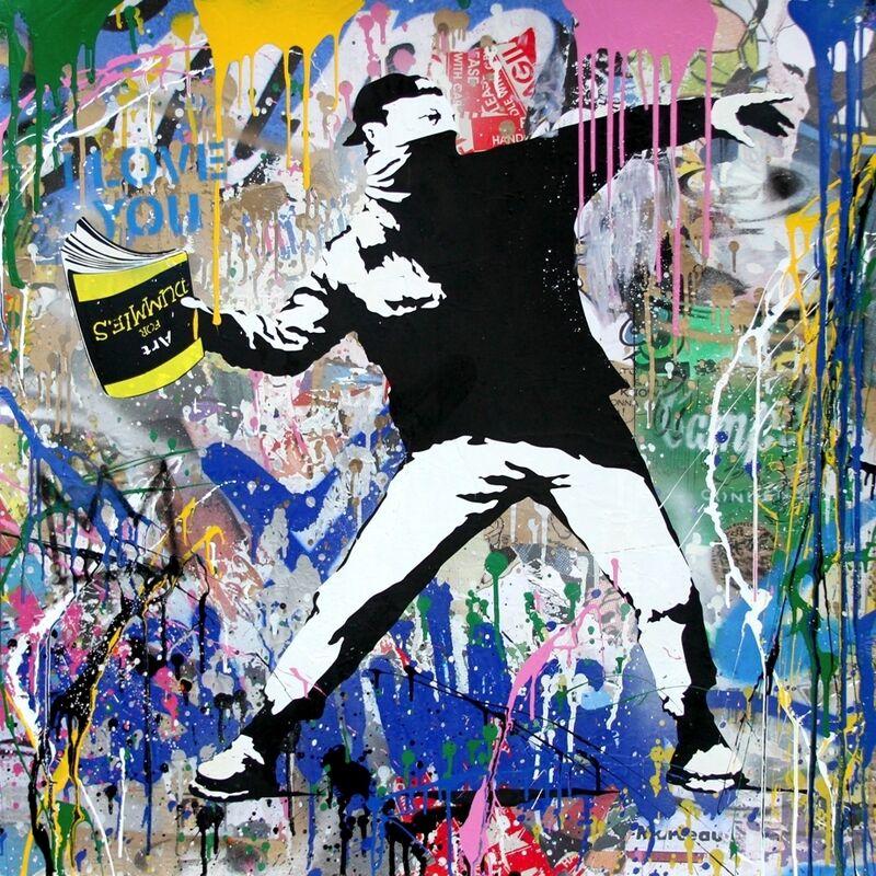 Mr. Brainwash, 'Banksy Thrower', 2018, Mixed Media, Silkscreen and Mixed Media on Paper, Taglialatella Galleries