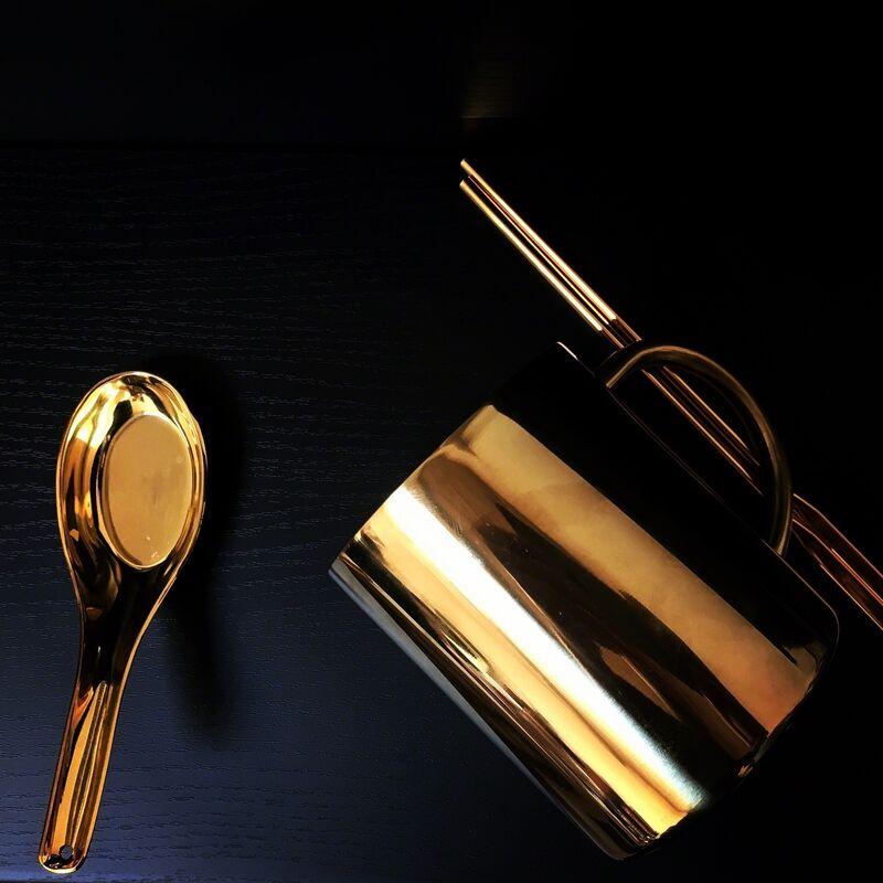 Zhang Ding, 'Untitled', 2016, Sculpture, Stainless steel cup plated 24k gold, stainless steel spoon plated 24k gold, copper chopsticks, Galerie Krinzinger