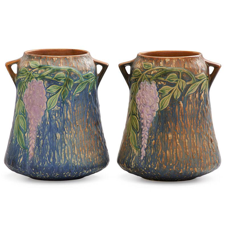 "Roseville Pottery, 'Two 8"" Blue Wisteria Vases', 1933, Design/Decorative Art, Rago/Wright/LAMA"