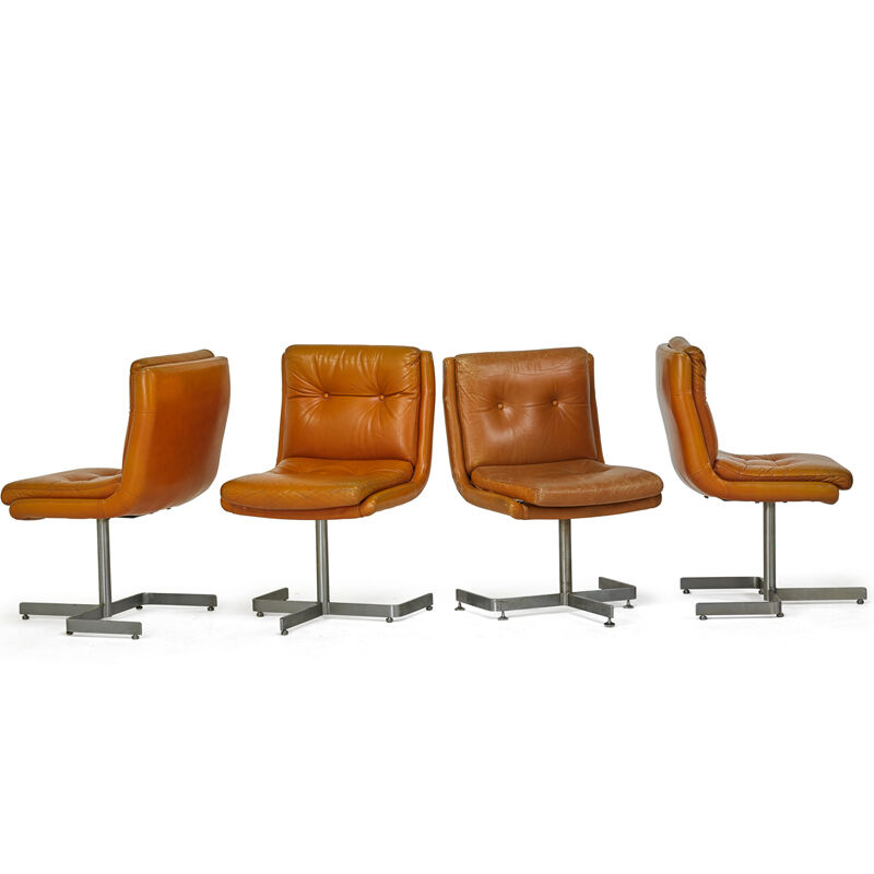 Unknown French, 'Four Side Chairs,', 1970s, Design/Decorative Art, Matte-Chromed Steel, Leather, Rago/Wright