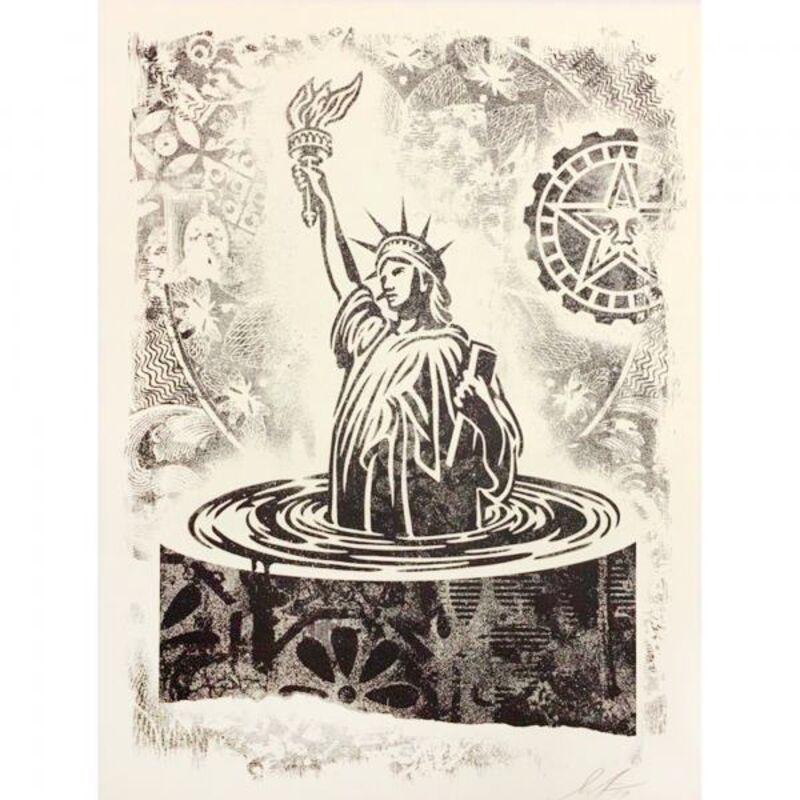 Shepard Fairey, 'Damaged Sinking Liberty', 2019, Print, Art paper, AYNAC Gallery