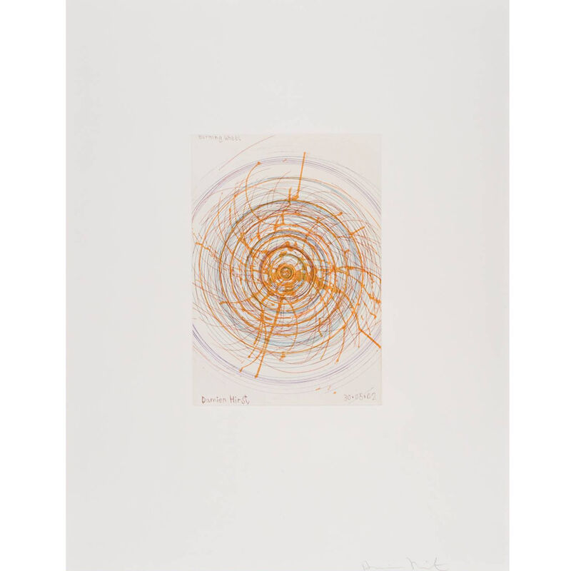 Damien Hirst, 'Burning Wheel (from In a Spin, the Action of the World on Things, Volume I)', 2002, Print, Etching in color, Weng Contemporary