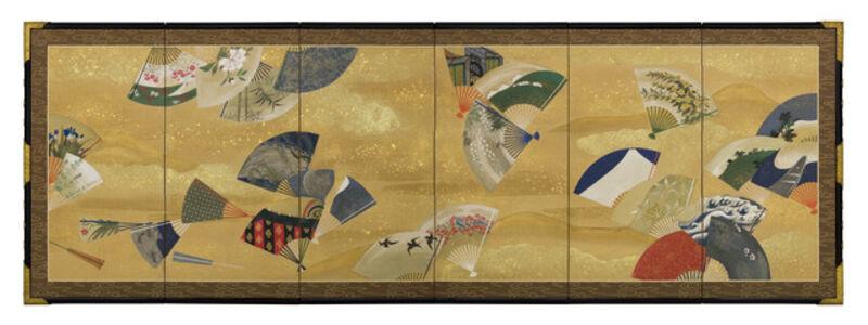 Unknown, 'Six-panel Screen, Scattered Fans (T-4183)', Meiji era (1868, 1912), 19th century