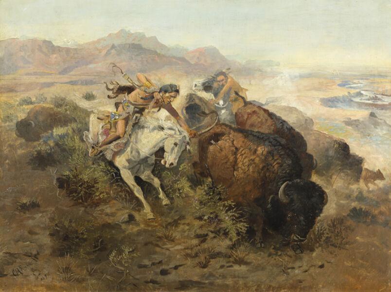 Charles Marion Russell, 'Cascade Buffalo Hunt', 1895