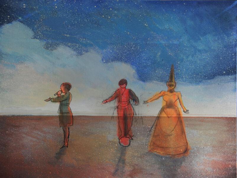 Huang He, 'Three performers on the horizon 地平线上的三个表演者', 2019