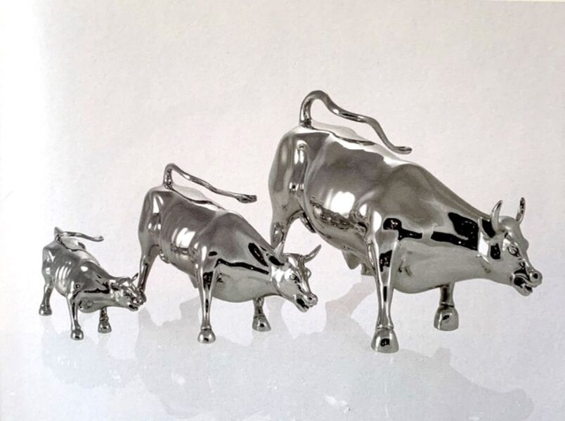 Arturo Di Modica, 'Charging Bull Triptych Stainless Steel', 1989