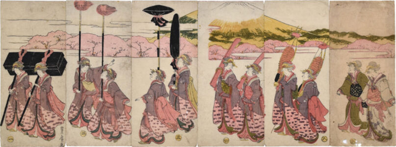 Utagawa Toyohiro, 'Beauties Imitating a Daimyo Procession with Mount Fuji',  ca. 1805-06