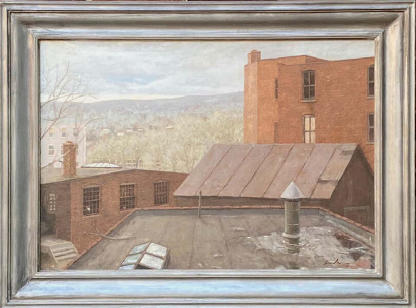 "Linden Frederick, '""Factory Town"" Contemporary American Industrial Oil Painting Maine 1987 Realism 1987', 1987"
