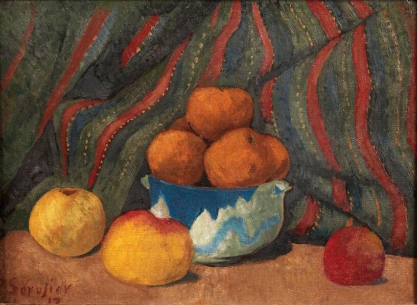 Paul Sérusier, 'Nature morte aux pommes sur fond de tenture rayée', 1912