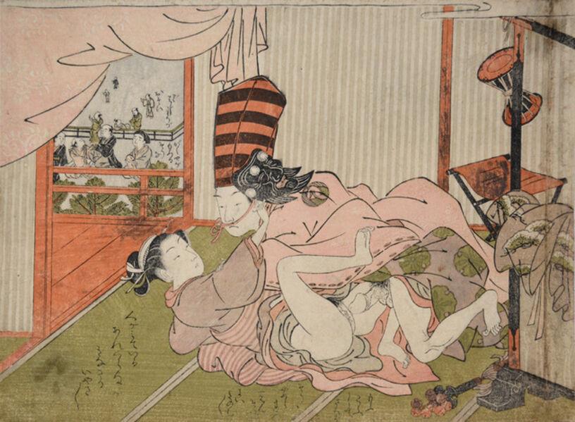 Isoda Koryusai, ' Back Stage ', ca. 1760