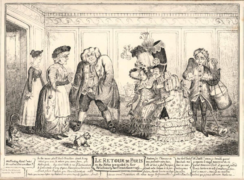 George Cruikshank, 'Le Retour de Paris, or the niece presented to her relatives by her French Governess (The Return from Paris)', 1816