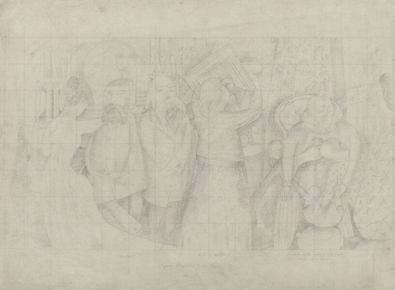 Stanley Spencer, 'Drawing for the Marriage at Cana (Bride and Bride Groom)', 1933