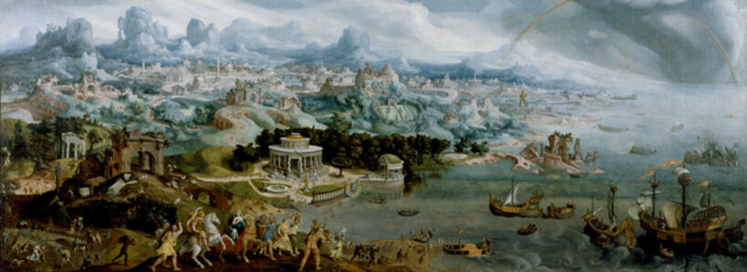 Maerten van Heemskerck, 'Panorama with the Abduction of Helen Amidst the Wonders of the Ancient World', 1535